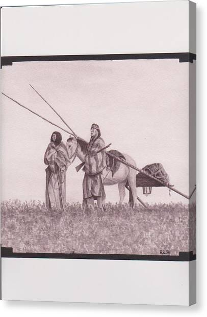 Indian Blackfoot Travis Canvas Print by Billie Bowles