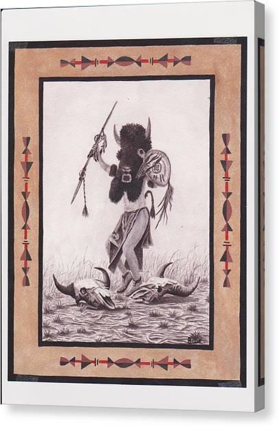 Indian Buffalo Dancer Canvas Print by Billie Bowles