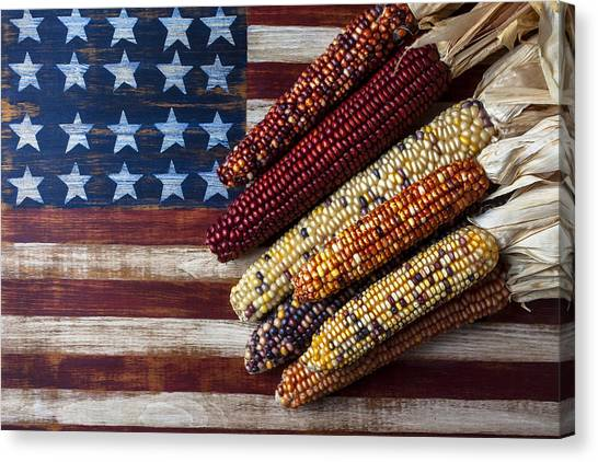 Corn Canvas Print - Indian Corn On American Flag by Garry Gay