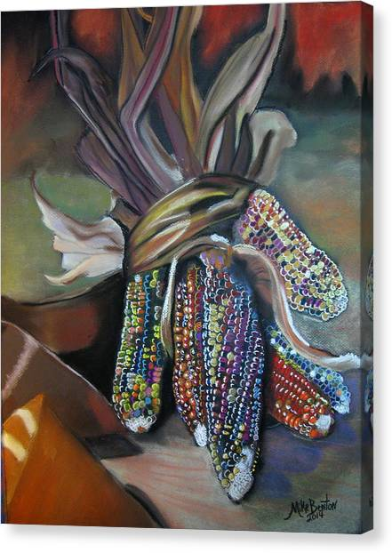 Indian Corn Pastel Canvas Print