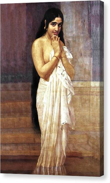 Indian Girl After Bath Canvas Print