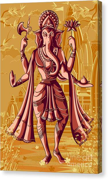 Worship Canvas Print - Indian God Ganpati In Blessing Posture by Vecton