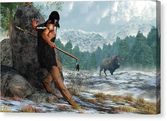 Indian Hunting With Atlatl Canvas Print