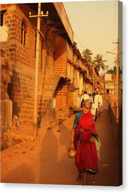 Jenny Lake Canvas Print - Indian Lady In Red Sari. Indian Collection by Jenny Rainbow