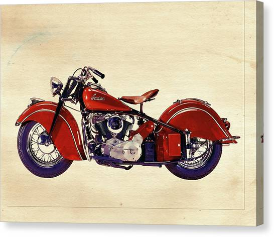 Classic Cycle Canvas Print - Indian Motor Bike by David Ridley