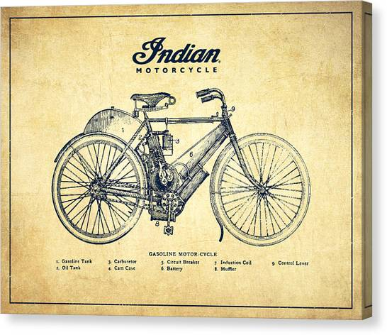 Choppers Canvas Print - Indian Motorcycle - Vintage by Aged Pixel