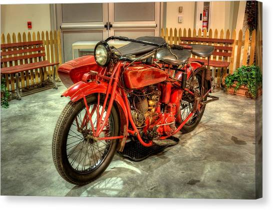 Indian Motorcycle With Sidecar Canvas Print