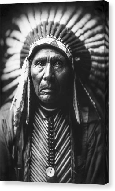Portrait Canvas Print - Indian Of North America Circa 1905 by Aged Pixel