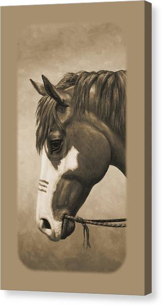 War Horse Canvas Print - Indian Pony War Horse Sepia Phone Case by Crista Forest