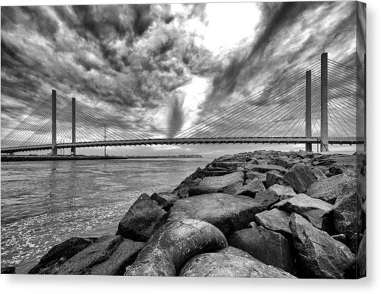 Indian River Bridge Clouds Black And White Canvas Print