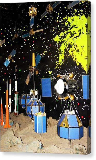 Satellite Canvas Print - Indian Satellites And Rockets by Mark Williamson