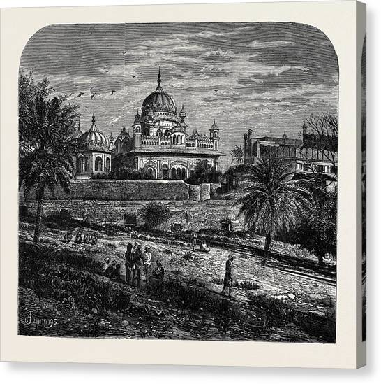 Sikh Art Canvas Print - Indian Sketches The Tomb Of Runjeet Singh by Indian School