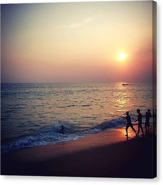 Sunrise Horizon Canvas Print - Indian Sunset by Raimond Klavins