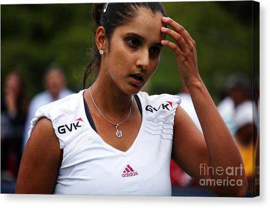 Tennis Pros Canvas Print - Indian Tennis Player Sania Mirza by Nishanth Gopinathan