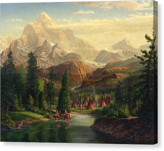 Teepee Canvas Print - Indian Village Trapper Western Mountain Landscape Oil Painting - Native Americans Americana Stream by Walt Curlee