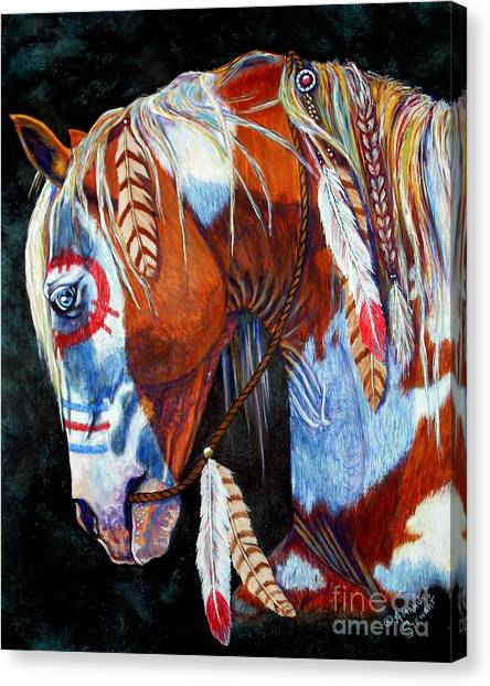 Rope Canvas Print - Indian War Pony by Amanda Hukill