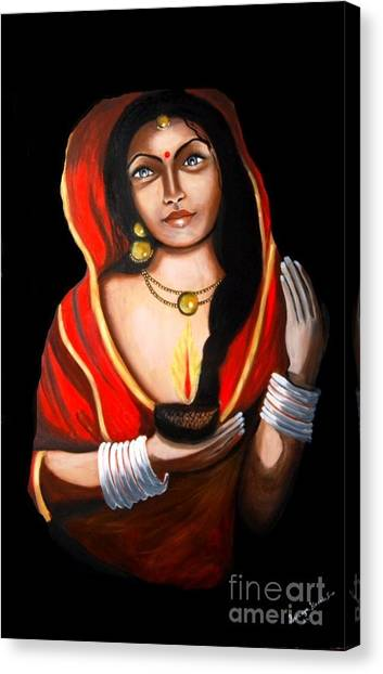 Indian Woman With Lamp Canvas Print