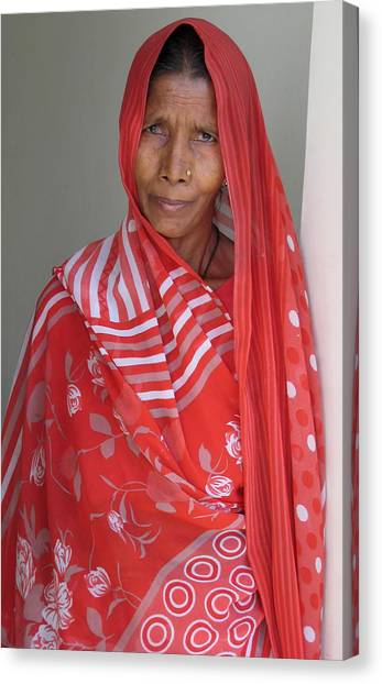 Indian Women In Red Canvas Print