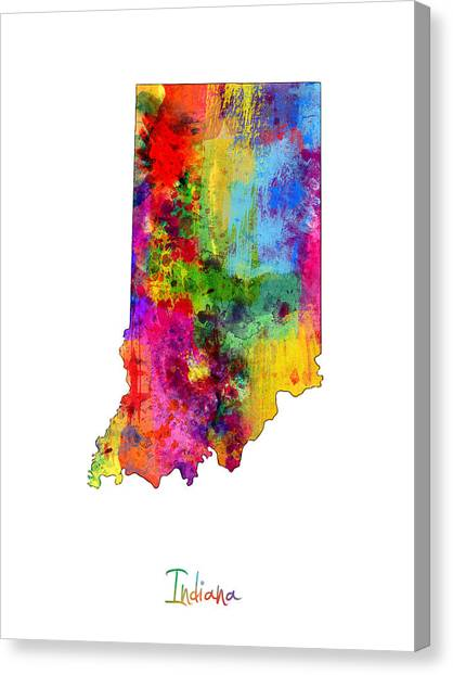 Indiana Canvas Print - Indiana Map by Michael Tompsett