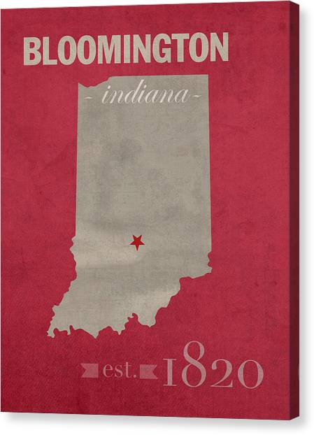 Big Ten Canvas Print - Indiana University Hoosiers Bloomington College Town State Map Poster Series No 048 by Design Turnpike