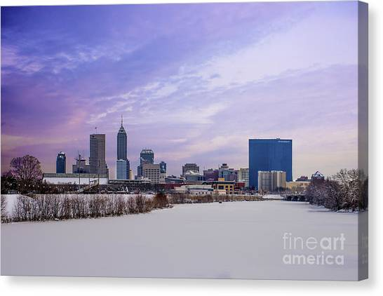 Indiana University Iu Canvas Print - Indianapolis A Midwinters Afternoon Dream by David Haskett II