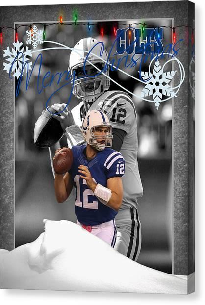 Indianapolis Canvas Print - Indianapolis Colts Christmas Card by Joe Hamilton