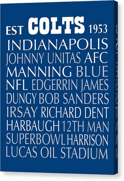 Indianapolis Colts Canvas Print - Indianapolis Colts by Jaime Friedman