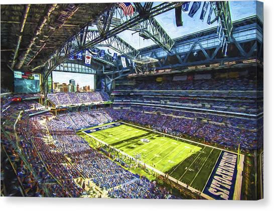 Indiana University Iu Canvas Print - Indianapolis Colts Lucas Oil Stadium Painted Digitally by David Haskett II