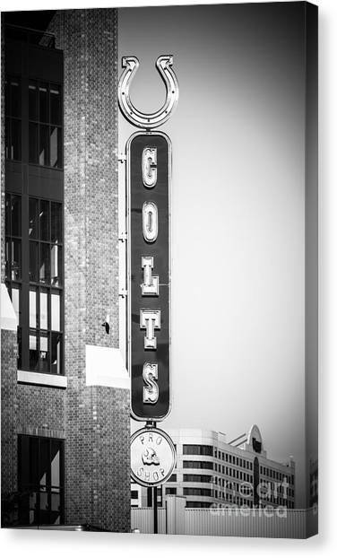 Indianapolis Colts Canvas Print - Indianapolis Colts Sign Picture In Black And White by Paul Velgos