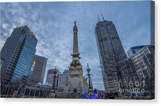 Indianapolis Indiana Monument Circle Blue  Canvas Print