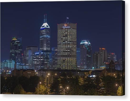 Indiana University Iu Canvas Print - Indianapolis Indiana Night Skyline Blue by David Haskett