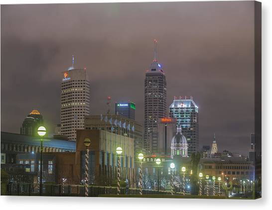 Indiana University Iu Canvas Print - Indianapolis Indiana Night Skyline Foggy 1 by David Haskett II