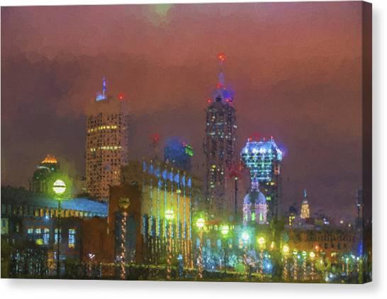 Indiana University Iu Canvas Print - Indianapolis Indiana Night Skyline Painted Digitally by David Haskett II