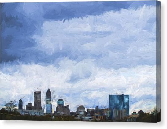 Indiana University Iu Canvas Print - Indianapolis Indiana Painted Digitally Blue 2 by David Haskett II