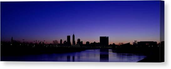 Indiana University Iu Canvas Print - Indianapolis Indiana Panoramic Blue Hour Sunrise by David Haskett II