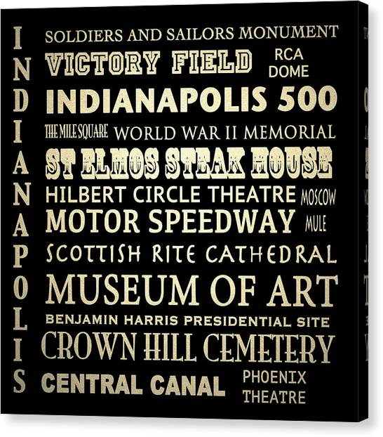 Indianapolis Famous Landmarks Canvas Print