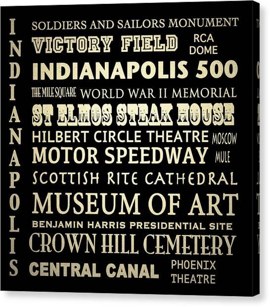 Indianapolis Famous Landmarks Canvas Print