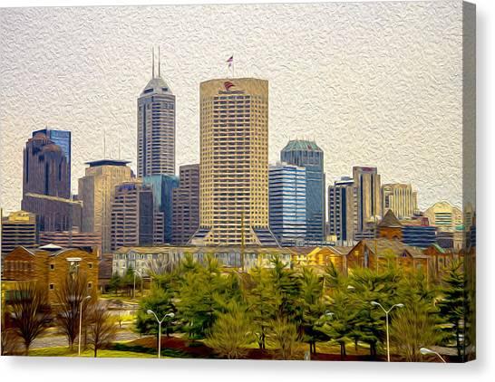Indiana University Iu Canvas Print - Indianapolis Indiana Skyline Digitally Painted by David Haskett II