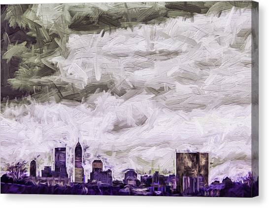 Indiana University Iu Canvas Print - Indianapolis Indiana Skyline Digitally Painted Purple 1 by David Haskett