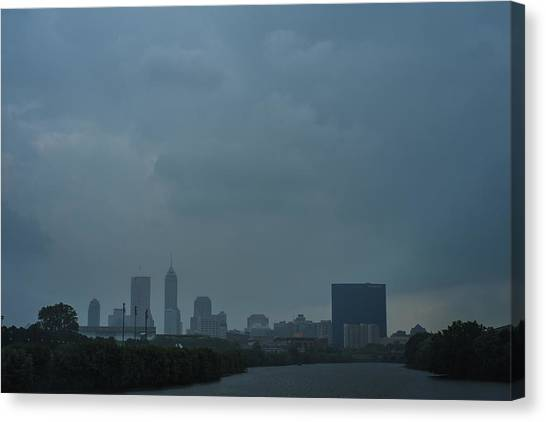 Indiana University Iu Canvas Print - Indianapolis Indiana Skyline During A Rain Downpour by David Haskett II
