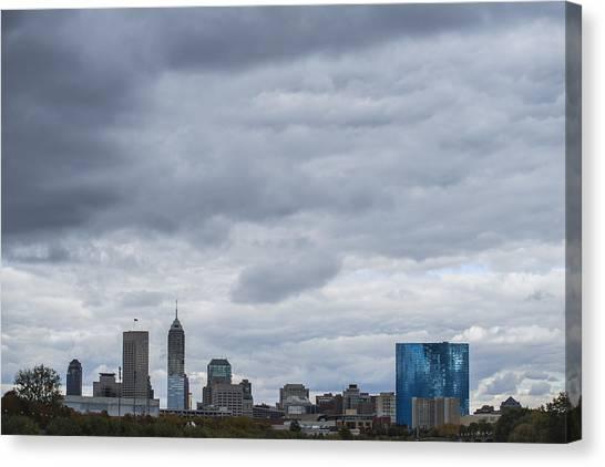 Indiana University Iu Canvas Print - Indianapolis Indiana Skyline License  1 by David Haskett II