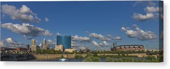 Indiana University Iu Canvas Print - Indianapolis Indiana Skyline Pano 10 by David Haskett