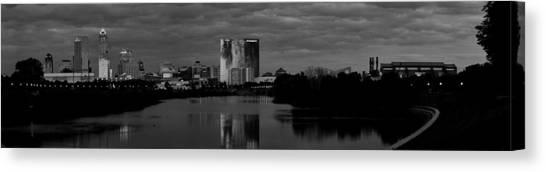 Indiana University Iu Canvas Print - Indianapolis Indiana Skyline Panoramic Black White by David Haskett II