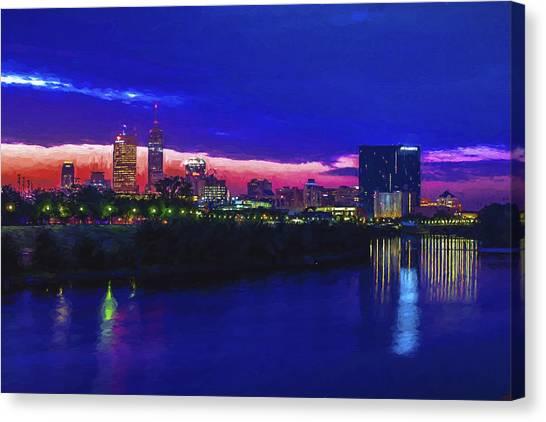 Indiana University Iu Canvas Print - Indianapolis Indiana Skyline Sunrise Digitally Painted by David Haskett