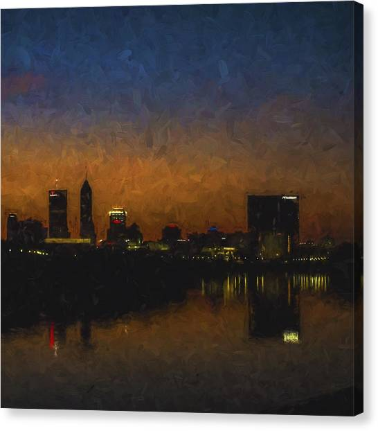 Indiana University Iu Canvas Print - Indianapolis Indiana Skyline Sunrise Square Digitally Painted by David Haskett II
