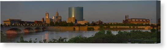 Indiana University Iu Canvas Print - Indianapolis Indiana Sunset Panoramic by David Haskett II