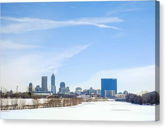 Indiana University Iu Canvas Print - Indianapolis Indiana Winter Snow by David Haskett II