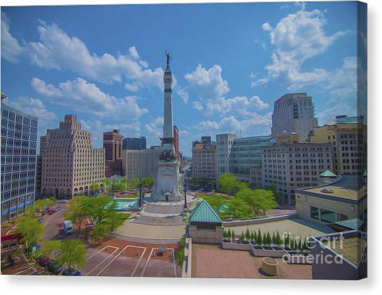 Indianapolis Monument Circle Oil Canvas Print