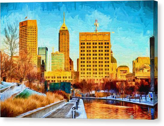 Indiana University Iu Canvas Print - Indianapolis Skyline Canal View Digital Painting by David Haskett