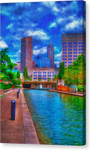 Indianapolis Skyline Canal View Digitally Painted Blue Canvas Print